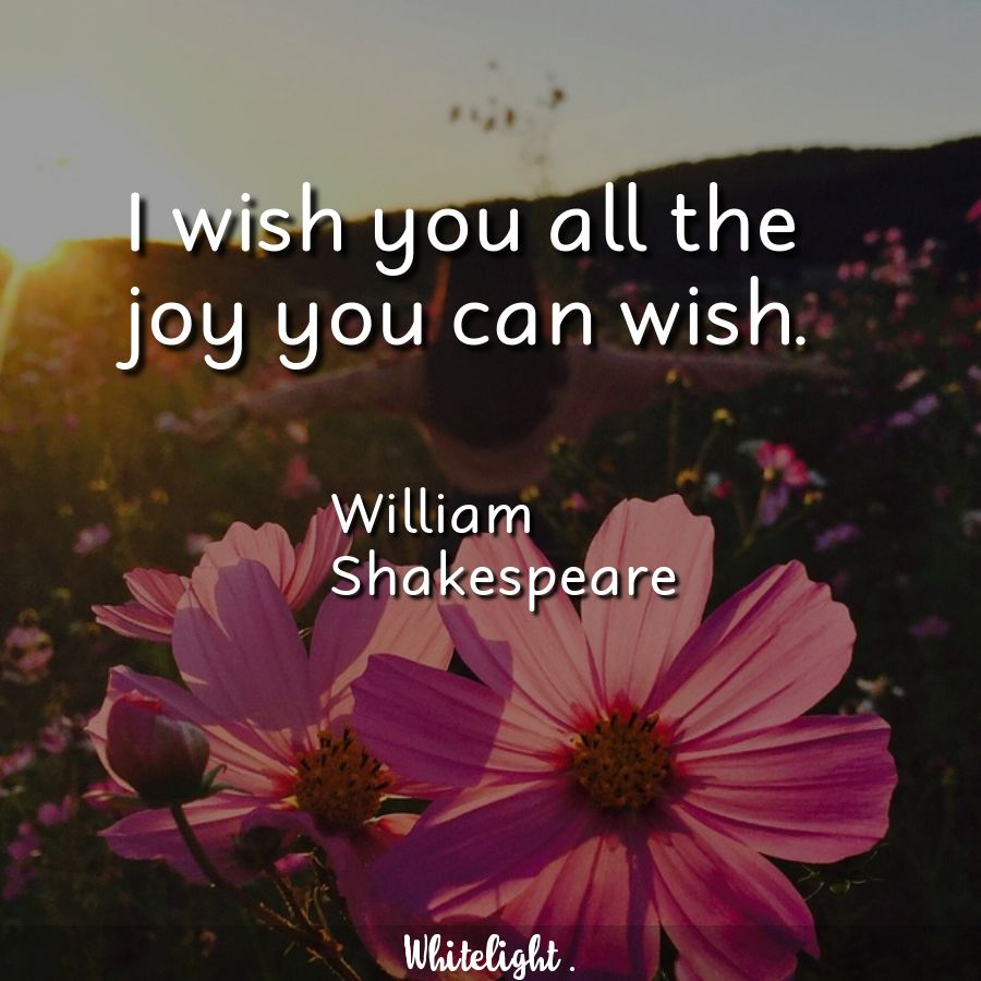 I wish you all the joy you can wish. -William Shakespeare